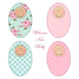 Retro fabric applique of newborn baby cartoon character Stock Photography