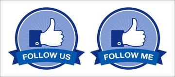 Retro- facebook folgen uns/Follow-metasten Stockbild