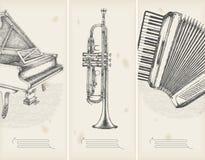 Retro- Fahnenklavier, Trompete, accor Stockfotografie