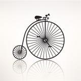 Retro- Fahrradschattenbild der Vektorweinlese, Ikone Stockfoto