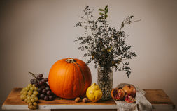 Retro fall still life with fruits and vegetables Royalty Free Stock Image