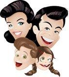 Retro familie van de animatie Stock Afbeelding