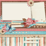 Retro family album.365 Project. Scrapbooking templates. Royalty Free Stock Image