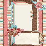 Retro family album.365 Project. Scrapbooking templates. Project 365, Page family album in retro style. Digital Scrapbook Templates vector illustration