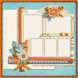 Retro family album.365 Project. Scrapbooking templates. Project 365, Page family album in retro style. Digital Scrapbook Templates royalty free illustration
