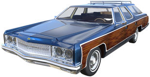 Retro Family Station Wagon Car Isolated Stock Photo