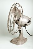 Retro fan. Retro metal fan; steel grey or blue; summer stock photography