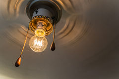 Retro fan with Edison's lamp Stock Photo