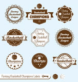 Retro Fantasy Baskeball League Labels and Stickers. Collection of vintage style fantasy basketball league labels labels and badges Royalty Free Stock Images