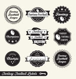 Retro Fantasy Football League Labels and Stickers. Collection of vintage style fantasy football league labels labels and badges Stock Image