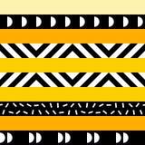 Retro- Farbnahtloses Muster Fantastischer abstrakter geometrischer Kunstdruck Ethnischer Hippie Ornamental zeichnet Hintergrund Stockfoto