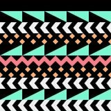 Retro- Farbnahtloses Muster Fantastischer abstrakter geometrischer Kunstdruck Ethnischer Hippie Ornamental zeichnet Hintergrund Lizenzfreie Stockfotos