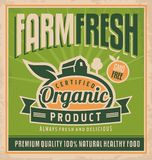 Retro farm fresh food concept. Vector design for gmo free organic products on old paper texture. Vintage label for premium quality 100 % natural healthy food Stock Image