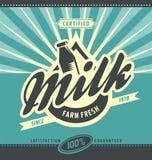 Retro farm fresh milk ad concept Stock Photos