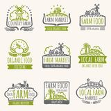 Retro farm market signs. Vintage fresh organic food vector labels with harvest field. Illustration of farm organic label for natural product Royalty Free Stock Photography