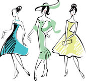 Retro fashion. Line drawing of three fashionably dressed woman Royalty Free Stock Photography
