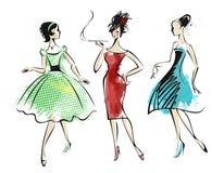 Retro fashion. Watercolor of three  fashionably dressed  retro  girls Royalty Free Stock Images