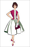 Retro Fashion Clip Art. Stylish fashion dressed girls (1950's 1960's style): Retro fashion party. vintage fashion silhouettes from 60s Stock Images
