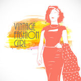 Retro fashion collection with vintage girl. Stock Images