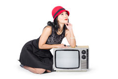 Retro fashion communication. Girl on television Stock Image