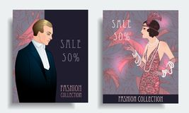 Retro fashion. Costume party or mafia game discount banner templ. Ate. Flapper girl. Vintage background set (1920's style). Vector illustration for glamour party Royalty Free Stock Images