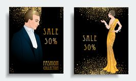 Retro fashion. Costume party or mafia game discount banner templ. Ate. Flapper girl. Vintage background set (1920's style). Vector illustration for glamour party royalty free illustration