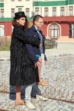 Retro fashion couple posing outdoors Stock Photo