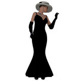 Retro Fashion Dress. A woman dressed in a black fashion dress and hat from the 1960s Vector Illustration