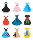 Retro Fashion Dresses Set Stock Images
