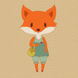 Retro fashion fox Stock Photography