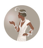 Retro fashion: glamour girl of twenties African American woman. Vector illustration. Flapper  20`s style. Vintage party invitation design template. Fancy black Stock Photos
