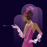 Retro fashion: glamour girl of twenties African American woman Royalty Free Stock Images