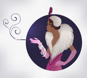 Retro fashion: glamour girl of twenties (African American woman). Vector illustration. Flapper  20's style. Vintage party invitation design template. Fancy Royalty Free Stock Photography