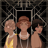 Retro fashion: glamour girl of twenties (African American woman). Vector illustration. Flapper  20's style. Vintage party invitation design template. Fancy Stock Images