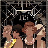 Retro fashion: glamour girl of twenties (African American woman). Vector illustration. Flapper  20's style. Vintage party invitation design template. Fancy Royalty Free Stock Photos