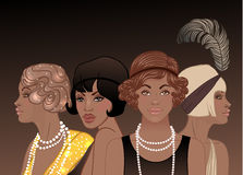 Retro fashion: glamour girl of twenties (African American woman). Vector illustration. Flapper  20's style. Vintage party invitation design template. Fancy Stock Photography