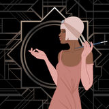 Retro fashion: glamour girl of twenties (African American woman). Vector illustration. Flapper  20's style. Vintage party invitation design template. Fancy Royalty Free Stock Images