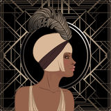 Retro fashion: glamour girl of twenties (African American woman). Vector illustration. Flapper  20's style. Vintage party invitation design template. Fancy Royalty Free Stock Image