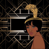 Retro fashion: glamour girl of twenties (African American woman). Vector illustration. Flapper 20's style. Vintage party invitation design template. Fancy vector illustration
