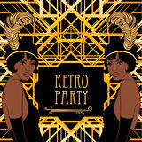 Retro fashion: glamour girl of twenties (African American woman). Vector illustration. Flapper 20's style. Vintage party invitation design template. Fancy royalty free illustration