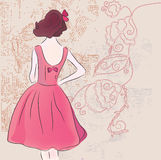 Retro fashion model in dress Royalty Free Stock Images