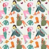 Retro Fashion Model Seamless Pattern. Vintage Woman Background  Royalty Free Stock Photography