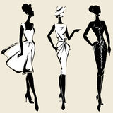 Retro fashion models in sketch style fall winter Royalty Free Stock Photo