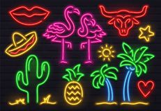Retro fashion neon sign. Glowing fluorescent cactus, pink flamingo and bull signs. Bright palm, sombrero and pineapple. Retro fashion neon sign. Glowing vector illustration