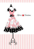 Retro fashion. Pretty retro dress with apron (full dress behind in vector Royalty Free Stock Photos