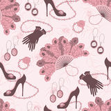 Retro fashion seamless  pattern  with women access Stock Photography