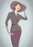 Retro fashion. Vector illustration of stylish fashion woman in 40s style royalty free illustration
