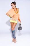 Retro Fashionista Woman Standing in Studio Stock Photography