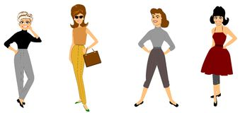 Retro fashions with ladies in slacks Stock Photography