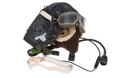 Retro fasion pilot helmet with goggles Stock Image